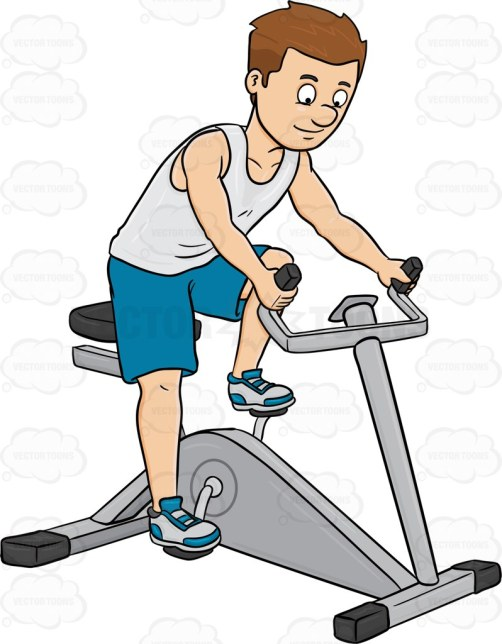 Cartoon image of a man with brown hair and wearing white sleeveless shirt paired with blue shorts and white rubber shoes with blue accent looking happy as he rides a gym equipment for cardio exercise